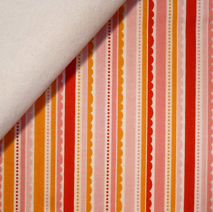 Fabric Felt :: Happy Day :: Pink Scallop Stripes on White