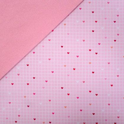Fabric Felt :: Lovebug Grid on Baby Pink