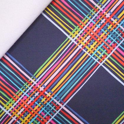 Fabric Felt :: Happy! :: Rainbow Stripes on White