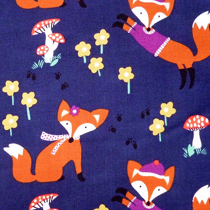 Fabric :: Foxwood :: Navy Foxes