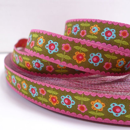 Embroidered Ribbon :: Flowers on Olive