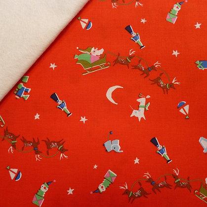 Fabric Felt :: Way Up North :: Santa's Sleigh Red on Natural