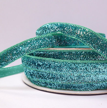 10mm LUXURY Glitter Velvet Ribbon :: Aqua