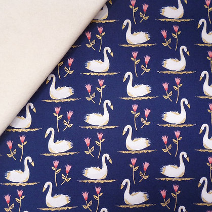 Fabric Felt :: Swans A Swimming:: Midnight on Natural