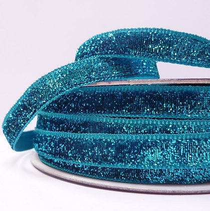 10mm LUXURY Glitter Velvet Ribbon :: Turquoise