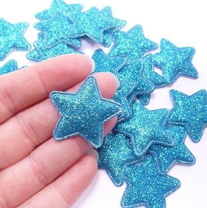 Fine Glitter Stars :: BLUE :: pack of 28
