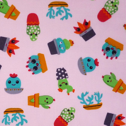 Fabric :: Wide :: Cute Cactus on Pink