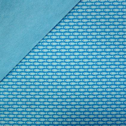Fabric Felt :: Copenhagen Blue Fish on Turquoise