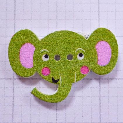 Wooden Elephant Face Button :: Green