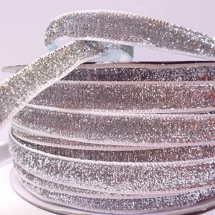 10mm LUXURY Glitter Velvet Ribbon :: Silver