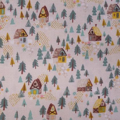 Fabric :: Goldilocks :: Cream Forest Houses