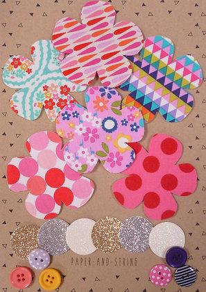 Fabric Felt Hand Cut Flowers Kit :: Brights