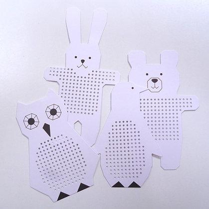 Stitchables :: Owl, Bear, Rabbit & Penguin