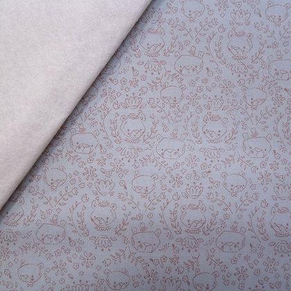 Fabric Felt :: Goldilocks :: Teal Bear Sketch on Natural