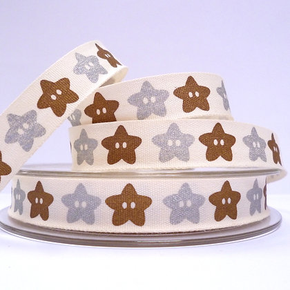 NEW Cotton Christmas Ribbon :: Star Buttons