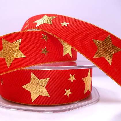 Gold Star on Denim Ribbon :: RED