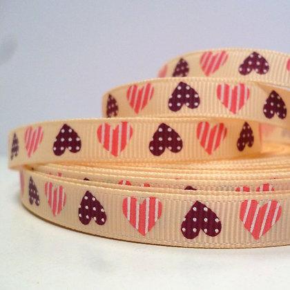 Fawn Grosgrain + Pink & Brown Hearts