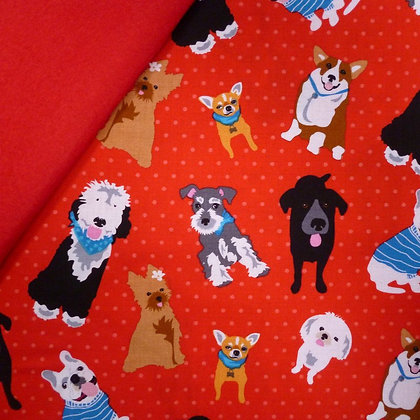 Fabric Felt :: Must Love Dogs :: Red on Red