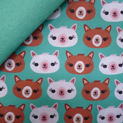 Artisan Fabric Felt :: Cute Llama Faces on Sea Green