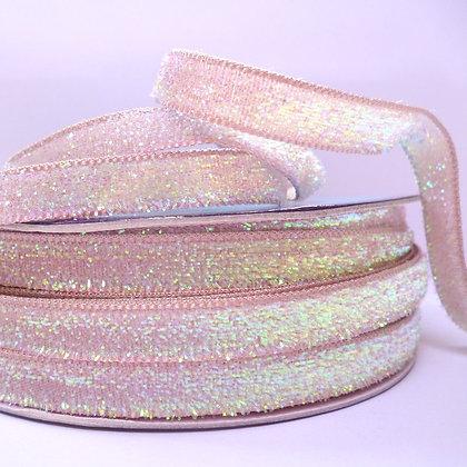 10mm Glitter Velvet Ribbon :: Pastel Blush