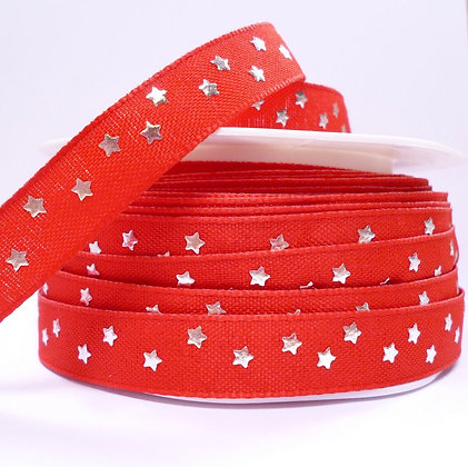 Cotton & Stars Ribbon :: Red + Silver Stars