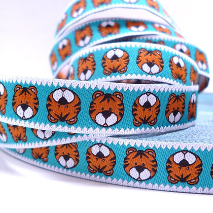 Embroidered Ribbon :: Turquoise Tiger