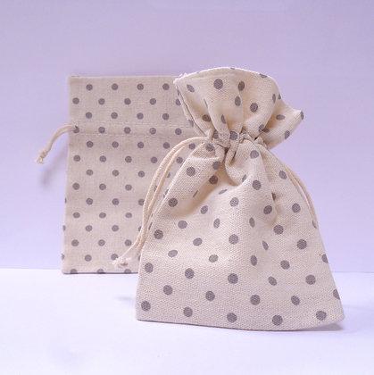 Drawstring Bags :: Grey Dots (x5)