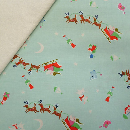 Fabric Felt :: Way Up North :: Santa's Sleigh Mint on Natural