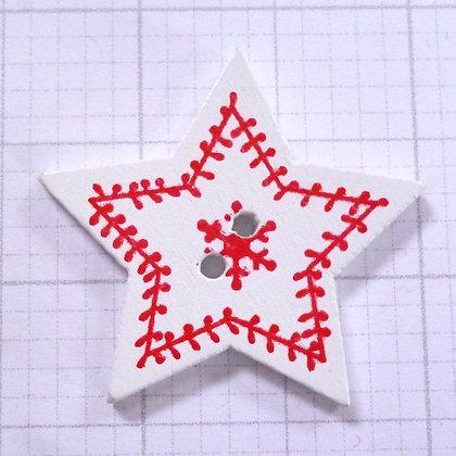 Wooden Button :: Snowflake Star