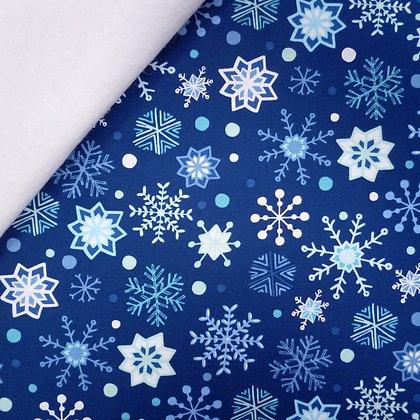 Fabric Felt :: Snow Happy :: Navy Blue Snowflakes on White