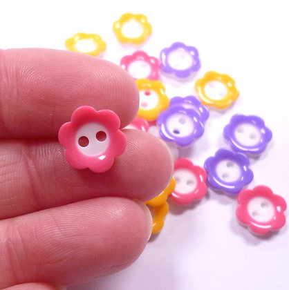 White Centre Tiny Flower Button Pack :: Bright