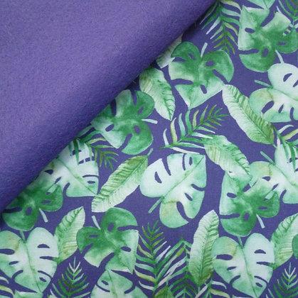 Artisan Fabric Felt :: Tropical Leaves on Indigo