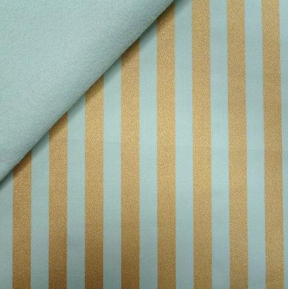 Fabric Felt :: Wide Gold Stripes :: Mint on Pale Mint