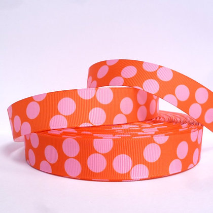 Pattern Grosgrain Ribbon :: Orange & Pink Dots