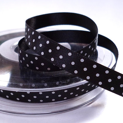 Micro Dot Satin Ribbon :: Black
