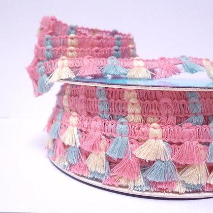 Tiny Tassels Trim :: Pink, Blue & Natural