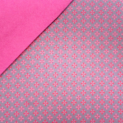 Fabric Felt :: Grey with Pink Tiles on Candy Pink