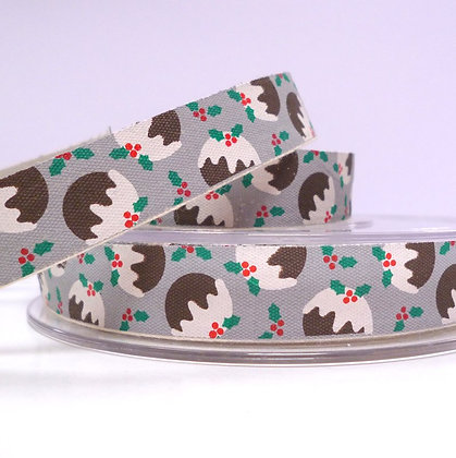 2017 Cotton Christmas Ribbon :: Puddings & Holly on Grey