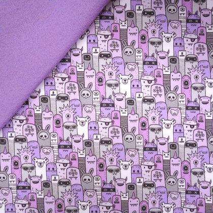 Artisan Fabric Felt :: Purple Monsters on Lilac