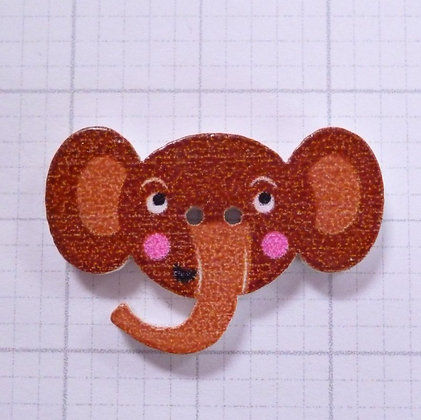 Wooden Elephant Face Button :: Brown