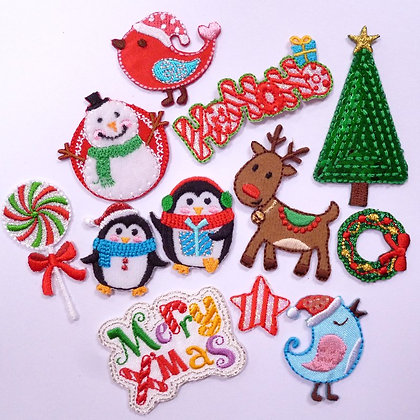 Small Bright Christmas Embroidered Motifs (pack of 2)
