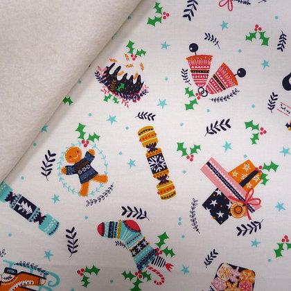 Fabric Felt :: Merry Little Christmas :: Crackers on Natural LAST FEW
