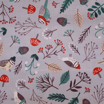 Fabric :: Dreaming of Snow :: Grey Birds & Branches