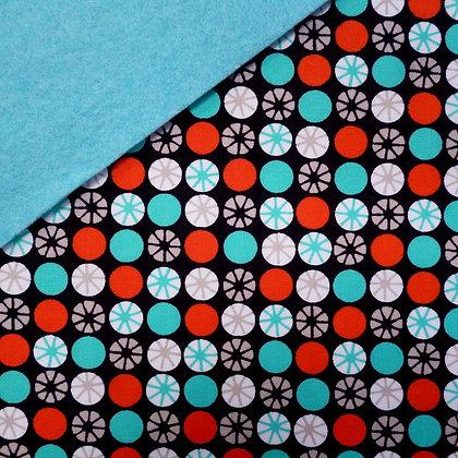 Fabric Felt :: Atomic Orbs on Turquoise