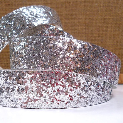 Chunky Glitter Ribbon :: 2.5cm Wide (by the m) :: Silver
