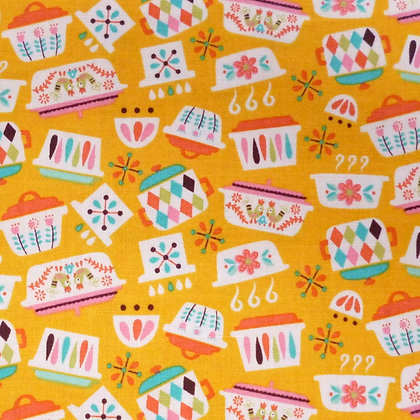 Fabric :: Vintage Kitchen :: Yellow Dishes