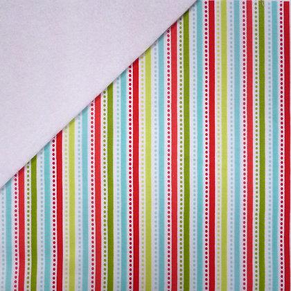 Fabric Felt :: Santa Express Multi Stripe on White