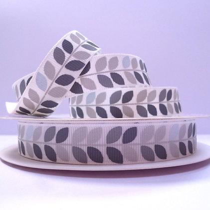 Bertie Bows Ribbon :: Grey Leaves