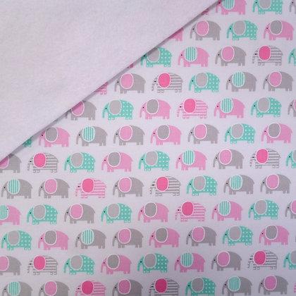 Fabric Felt :: Zoologie Pastel Elephants on White