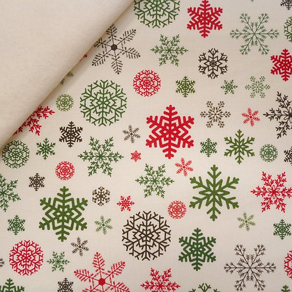 Fabric Felt :: Christmas Delivery :: Snowflakes on Natural  LAST FEW